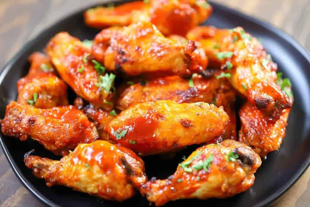 air fried frozen chicken wings in a plate
