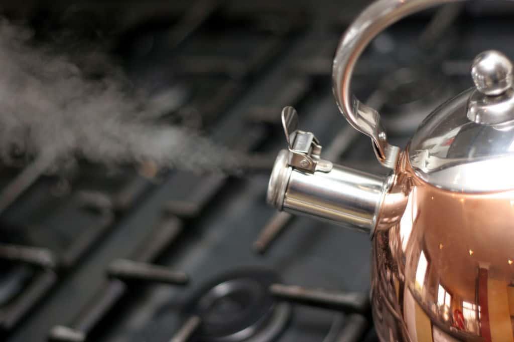 Tea kettle on a stove