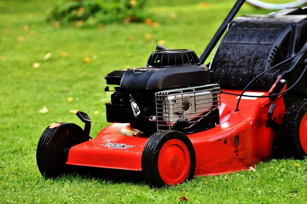 lawn mower mowing wet grass
