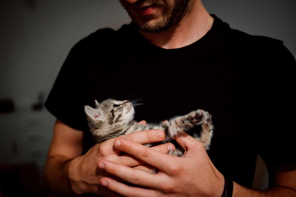 a man holding a very small cat affectionately