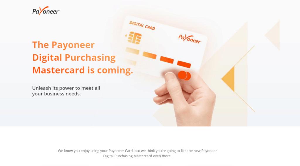 Payoneer digital purchasing virtual card