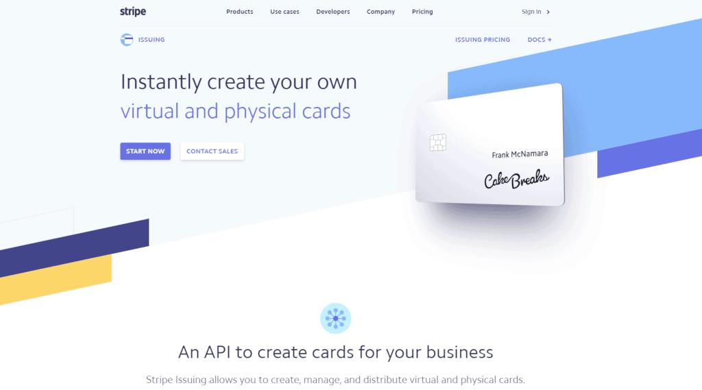 Stripe website page virtual cards