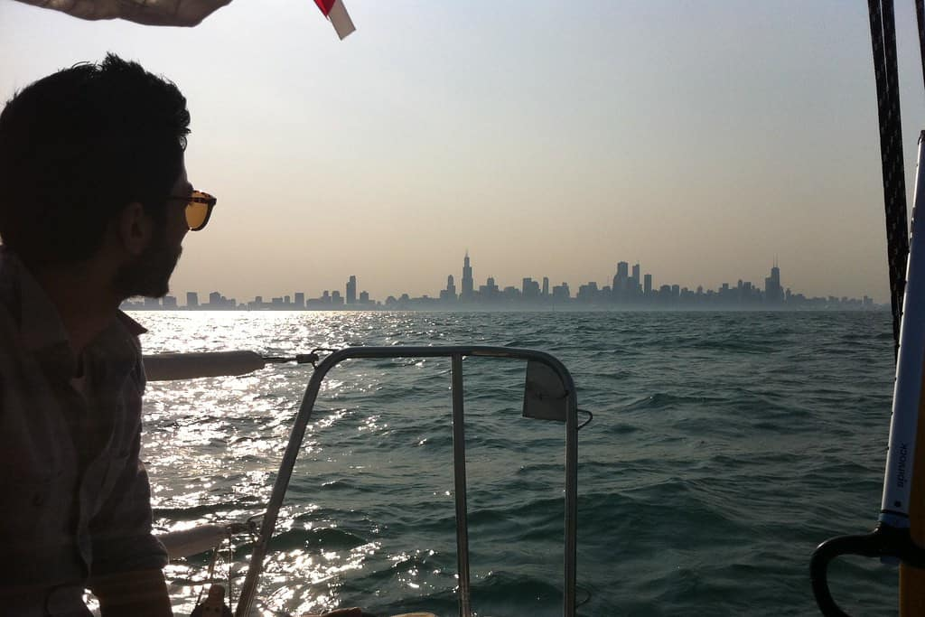 lake michigan chicago in distance sailing