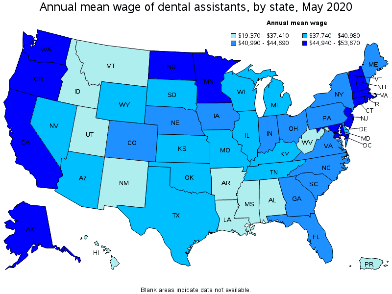 Annual Average Dental Assistant Wage by state