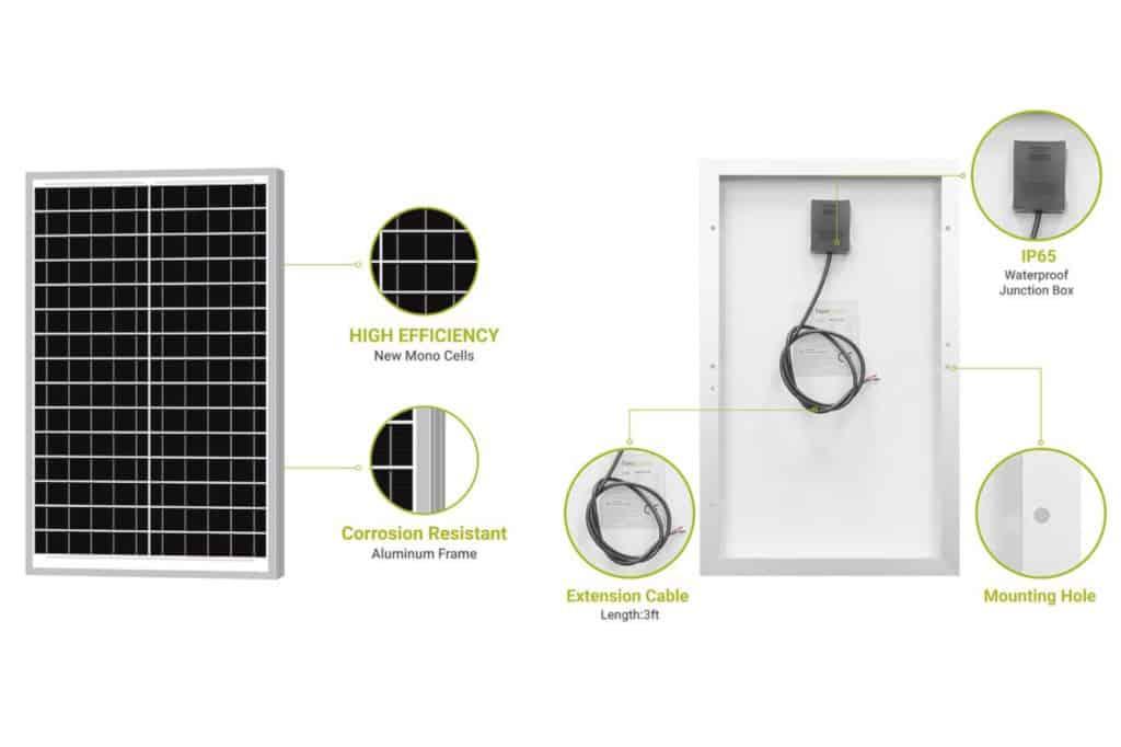 Newpowa 30W 12V Monocrystalline Marine Solar Panel